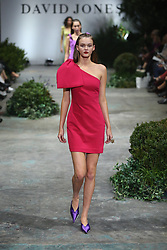 The spectacular runway show, held at Fox Studios starred international talent Karolina Kurakova, Anwar Hadid, Adut Akech and David Jones ambassadors, Jessica Gomes and Victoria Lee showcasing David Jones' exclusive range of Australian and International designers. 08 Aug 2018 Pictured: model, wearing designs by, Rebecca Vallance, pink bow crepe mini dress. Photo credit: Richard Milnes / MEGA TheMegaAgency.com +1 888 505 6342