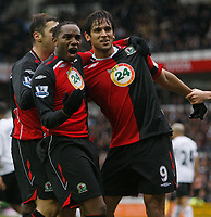 Photo: Steve Bond/Sportsbeat Images.<br /> Derby County v Blackburn Rovers. The FA Barclays Premiership. 30/12/2007. Roque Santa Cruz (R) celebrates his goal. Benni McCarthy (L) enjoys it in front of the Derby fans