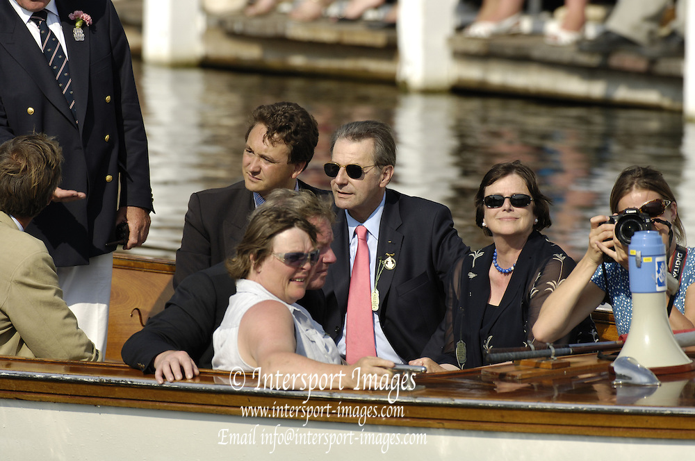 2006 Henley Royal Regatta. Henley-on-Thames, ENGLAND,  2, 02/07/2006.  IOC President; Dr Jacques ROGGE, takes a trip in an Umpires boat, AriadnePhoto  Peter Spurrier/Intersport Images, email images Henley Royal Regatta, Rowing Courses, Henley Reach, Henley, ENGLAND [Mandatory credit; Peter Spurrier/Intersport Images] 2006. HRR.