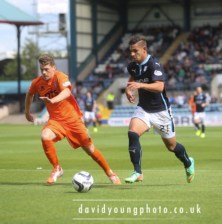 Luka Tankulic goes past Ross Barbour - Dundee v Kilmarnock - SPFL Premiership at Dens Park<br /> <br />  - &copy; David Young - www.davidyoungphoto.co.uk - email: davidyoungphoto@gmail.com