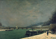 The Seine and the Jena Bridge', 1875.  Oil on canvas: Paul Gauguin (1848-1903) French Post-Impressionist painter.    View along the river  towards the bridge with barges carrying freight. In foreground is a small quay where barges load and unload.
