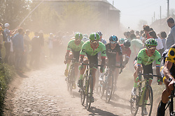 Peloton with riders of Cannondale-Drapac Pro Cycling Team during the 115th Paris-Roubaix (1.UWT) from Compiègne to Roubaix (257 km) at cobblestones sector 29 from Troisvilles to Inchy, France, 9 April 2017. Photo by Pim Nijland / PelotonPhotos.com | All photos usage must carry mandatory copyright credit (Peloton Photos | Pim Nijland)