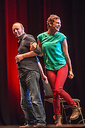 Comedian Francesca Martinez speaking at the #KeepCorbyn event, part of the #JC4PM tour a fringe event orgainised as part of the TUC 2016 by PCS. Brighton, UK.