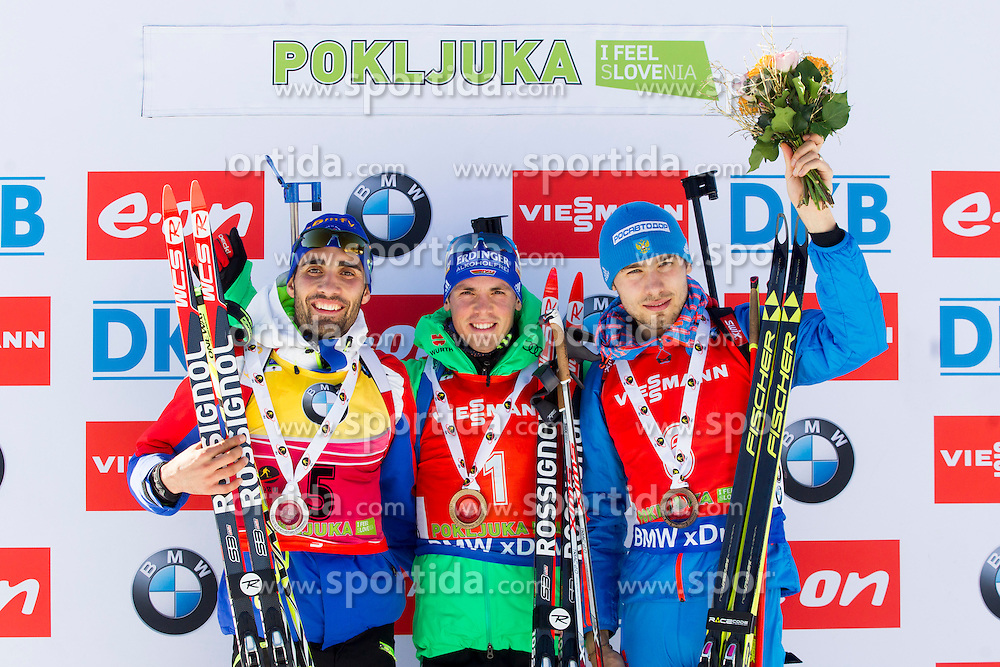 Martin Fourcade (FRA), Simon Schempp (GER) and Anton Shipulin (RUS) during Men 12,5 km Pursuit at day 3 of IBU Biathlon World Cup 2015/16 Pokljuka, on December 19, 2015 in Rudno polje, Pokljuka, Slovenia. Photo by Urban Urbanc / Sportida