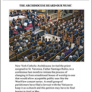 Bach Ouverture No.3 in D major, BMV 1068 <br /> <br /> The newly created Orchestra of St. Veronica, the third concert toke place on February 10th 2018.<br /> <br /> Michael Feldman is conducting an eclectic mix of professional musicians, some of which were founding members of the renowned Orchestra of St. Luke's back in the 1970's. These veterans of the classical repertoire will be joined by younger musicians, whose vigor and brash boldness will offer a striking counterpoint to the former's refined sensibilities. The February 10th concert will fearture a program of compositions by Bach and Mozart.<br /> <br /> After the Church of St. Veronica closed its doors in July of 2017, George Capsis thought it a shame that a 127 year old tradition of serving the community would be lost. Troubled too by the underserved population of senior citizens in the neighborhood, Capsis was inspired to create a classical concert series that &quot;will always be free to seniors&quot;<br /> <br /> The At St. Veronica's concert series is a grassroots project that depends on public support. The Catholic Archdiocese of New York has granted permission for a trial run of 6 months; by February 10th, this period will be more than half done.