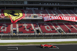 March 7, 2018 - Barcelona, Catalonia, Spain - March 7th, 2018 - Circuit de Barcelona-Catalunya, Montmelo, Spain - Formula One preseason 2018; Kimi Raikkonen of Team Scuderia Ferrari, Ferrari SF71H in the main straight with banner of Ferrari. (Credit Image: © Eric Alonso via ZUMA Wire)