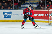 KELOWNA, CANADA - MARCH 16:  Schael Higson #21 of the Kelowna Rockets looks to pass the puck against the Vancouver Giants on March 16, 2019 at Prospera Place in Kelowna, British Columbia, Canada.  (Photo by Marissa Baecker/Shoot the Breeze)