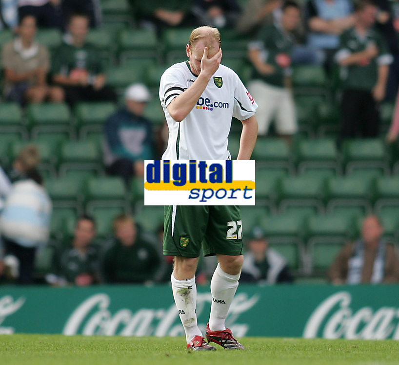 Photo: Lee Earle.<br /> Plymouth Argyle v Norwich City. Coca Cola Championship. 23/09/2006. Norwich's Gary Doherty looks dejected after Plymouth scored their third.