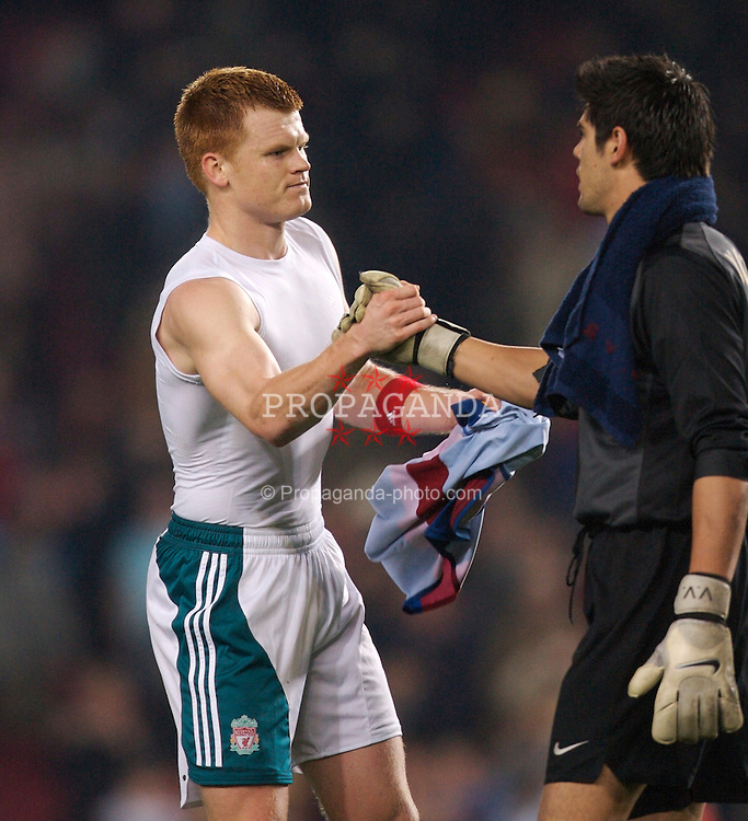 Barcelona, Spain - Wednesday, February 21, 2007: Liverpool's John Arne Riise shakes hands with FC Barcelona's goalkeeper Victor Valdes during the UEFA Champions League First Knockout Round 1st Leg match at the Nou Camp. (Pic by David Rawcliffe/Propaganda)