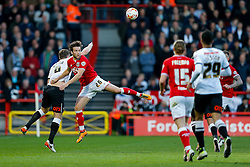 Adam Matthews of Bristol City is challenged by Chris Martin of Derby County - Mandatory byline: Rogan Thomson/JMP - 19/04/2016 - FOOTBALL - Ashton Gate Stadium - Bristol, England - Bristol City v Derby County - Sky Bet Championship.