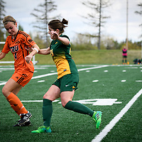 3rd year forward Sydney Langen (28) of the Regina Cougars during the Women's Soccer home game on September 17 at U of R Field. Credit: Arthur Ward/Arthur Images