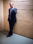 02 NOVEMBER 2010 - PHOENIX, AZ: Terry Goddard calls Jan Brewer to concede the election in a stairwell in the Wyndham Hotel in Phoenix on election night. Goddard, the Democratic candidate for Governor and incumbent attorney general, lost the election to sitting Governor Jan Brewer, a conservative Republican.  PHOTO BY JACK KURTZ