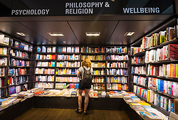 Novels and books for sale at bookstore and media shop Dussmann on Friedrichstrasse in Mitte, Berlin, Germany.