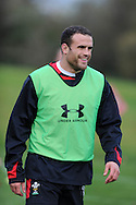 Jamie Roberts looks on. Wales rugby team training at the Vale resort, Hensol, near Cardiff in South Wales on Thursday 8th November 2012. the team are training ahead of the autumn international series opener against Argentina on the weekend. pic by Andrew Orchard, Andrew Orchard sports photography,
