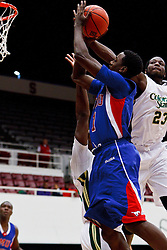 Nov 14, 2011; Stanford CA, USA;  Colorado State Rams forward Will Bell (23) blocks a shot from Southern Methodist Mustangs guard Ryan Manuel (1) during the first half of a preseason NIT game at Maples Pavilion.  Mandatory Credit: Jason O. Watson-US PRESSWIRE