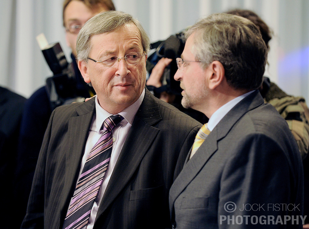 Jean-Claude Juncker, Luxembourg's prime minister, speaks with Wilhelm Molterer, Austria's finance minister, during the EuroGroup conference, a meeting of finance ministers from the euro zone, Monday, Dec. 1, 2008, in Brussels, Belgium.  (Photo © Jock Fistick)