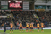 Hull city celebrate their second goal during the Sky Bet Championship match between Hull City and Cardiff City at the KC Stadium, Kingston upon Hull, England on 13 January 2016. Photo by Mark P Doherty.