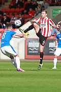 Liam Bellamy and Kyle Storer during the Vanarama National League match between Cheltenham Town and Dover Athletic at Whaddon Road, Cheltenham, England on 12 September 2015. Photo by Antony Thompson.