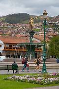 Statue of Pachacuti, Plaza de Armas, Cusco, Urubamba Province, Peru