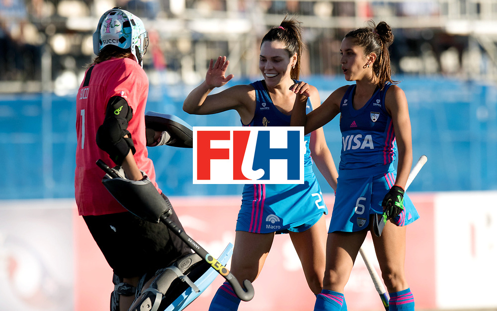 AUCKLAND - Sentinel Hockey World League final women<br /> Match id: 10301<br /> 11 GER v ARG (Pool B)<br /> Foto: Belen Succi(C,Gk) Noel Barrionuevo and Bianca Donati celebrating.<br /> WORLDSPORTPICS COPYRIGHT FRANK UIJLENBROEK