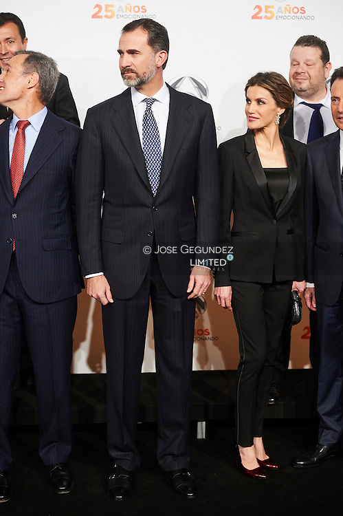 King Felipe VI of Spain and Queen Letizia of Spain attended to Antena3's 25th anniversary party at Palacio de Cibeles on January 29, 2015 in Madrid