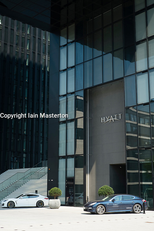Modern Hyatt Regency design Hotel in Medienhafen or Media Harbour district of Düsseldorf Germany