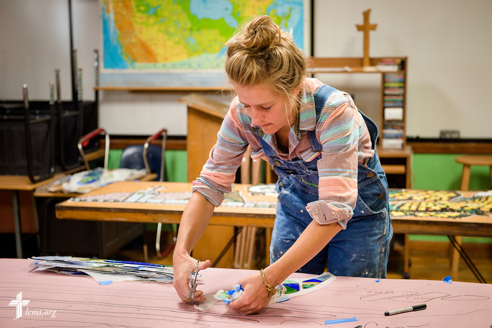 Artist Rachel Ziegler works on her mural project commemorating the 500th anniversary of the Lutheran Reformation at Zion Lutheran Church, Worms, Neb., on Saturday, Sept. 23, 2017. LCMS Communications/Erik M. Lunsford