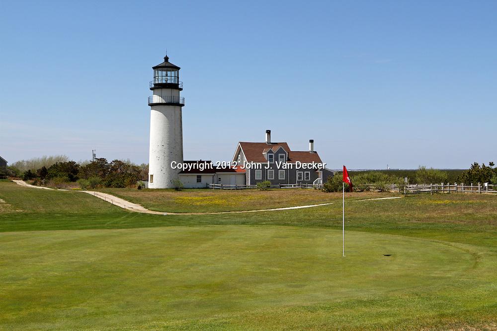 Cape Cod Light also called Highland Light sits amid a golf course. Cape Cod, Massachusetts, USA