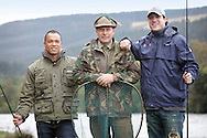 Bryan Clay and Jeremy Campbell are accustomed to competing in front of tens of thousands of spectators in some of the world's greatest sporting arenas, but today the American athletic stars were the picture of relaxation as they indulged in a spot of fishing on the banks of the River Tay.. .Clay, the reigning Olympic decathlon champion, and Campbell, who scooped gold in the pentathlon and discus at the 2008 Paralympics in Beijing, were staying at the East Haugh Hotel, Pitlochry, at the weekend  as part of a drive to promote UK tourism ahead of next year's 2012 London Olympic Games.. .The two athletes, whose tour of Scotland has been organised by VisitScotland and VisitBritain in co-operation with the U.S. Olympic Committee, were in Pitlochry as part of Team USA: Britain Bound. The athletes will document their tour of Scotland, including their visit to Perthshire, through images, video and blogs posted on www.TeamUSA.org/BritainBound.. .Pic shows Bryan and Jeremy with Head Ghillie Colin McFadyen