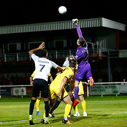 APRIL 1:  Dover Athletic against Bromley in Conference Premier at Crabble Stadium in Dover, England. Bromely's goalkeeper David Gregory climbs high to punch the ball away from the Bromely goal. (Photo by Matt Bristow/mattbristow.net)