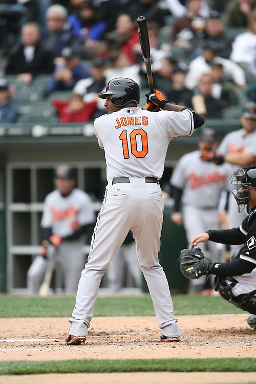 CHICAGO - APRIL 27:  Adam Jones #10 of the Baltimore Orioles bats during the game against the Chicago White Sox at U.S. Cellular Field in Chicago, Illinois on April 27, 2008.  The White Sox defeated the Orioles 6-1.  (Photo by Ron Vesely)