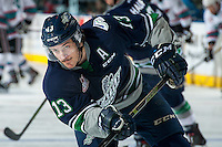 KELOWNA, CANADA - APRIL 22: Mathew Barzal #13 of Seattle Thunderbirds warms up against the Kelowna Rockets on April 22, 2016 at Prospera Place in Kelowna, British Columbia, Canada.  (Photo by Marissa Baecker/Shoot the Breeze)  *** Local Caption *** Mathew Barzal;