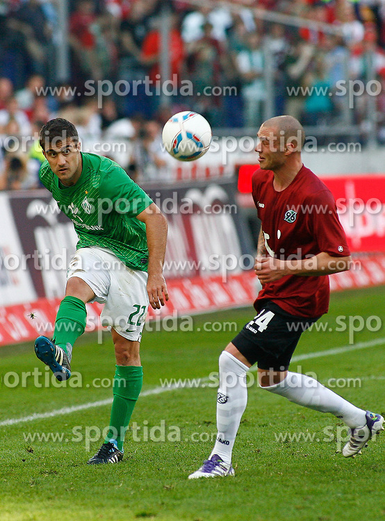 02.10.2011, AWD-Arena, Hannover, GER, 1.FBL, Hannover 96 vs Werder Bremen, im Bild  Sokratis (Bremen #22) und Christian Pander (Hannover #24) .// during the match from GER, 1.FBL, Hannover 96 vs Werder Bremend on 2011/10/02, AWD-Arena, Hannover, Germany. .EXPA Pictures © 2011, PhotoCredit: EXPA/ nph/  Schrader       ****** out of GER / CRO  / BEL ******