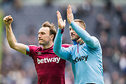 Mark Noble (Capt) (West Ham) & Marko Arnautovic (West Ham) thanking the West Ham FC supporters following the Premier League match between Tottenham Hotspur and West Ham United at Tottenham Hotspur Stadium, London, United Kingdom on 27 April 2019.