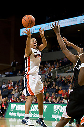 Virginia guard Sharnee Zoll (5) passes the ball against Maryland.  The Virginia Cavaliers women's basketball team fell to the #4 ranked Maryland Terrapins 74-62 at the John Paul Jones Arena in Charlottesville, VA on January 18, 2008.