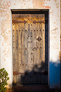 Door of the 15-16th century Chapel of Sant Jaume de la Mata, in Mura, near the Coll d'Estenalles in Parc Natural de Sant Llorenç del Munt i l'Obac, Barcelona, Catalonia.