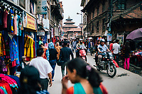 A crowded side street near Durbar Square in Patan, Nepal.