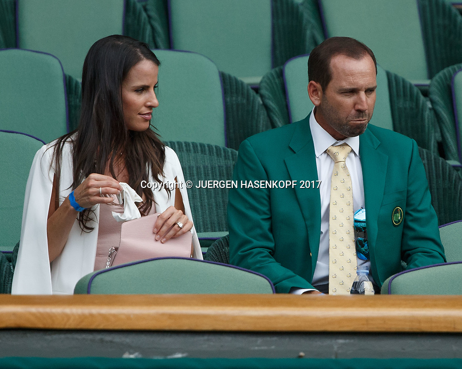 Wimbledon Feature,Golfer Sergio Garcia und Verlobte Angela Akins als Zuschauer in der VIP Loge,Royal Box,Promis,<br /> <br /> <br /> Tennis - Wimbledon 2017 - Grand Slam ITF / ATP / WTA -  AELTC - London -  - Great Britain  - 7 July 2017.