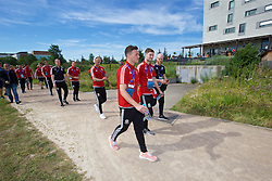 LYON, FRANCE - Wednesday, July 6, 2016: Wales' David Cotterill, James Chester and Ben Davies on a pre-match walk near their team hotel before the UEFA Euro 2016 Championship Semi-Final match against Portugal. (Pic by David Rawcliffe/Propaganda)