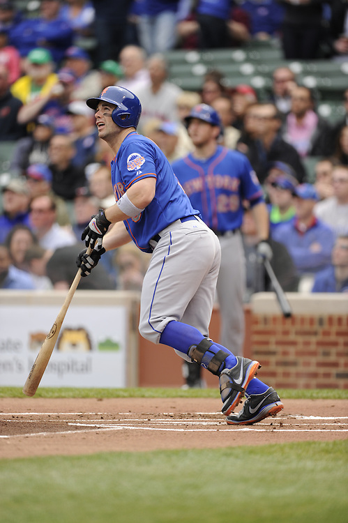 CHICAGO - MAY 17:  David Wright #5 of the New York Mets hits a home run in the first inning against the Chicago Cubs on May 17, 2013 at Wrigley Field in Chicago, Illinois.  The Mets defeated the Cubs 3-2.  (Photo by Ron Vesely/MLB Photos via Getty Images)  *** Local Caption *** David Wright