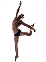 caucasian man gymnastic jump posture isolated studio on white background