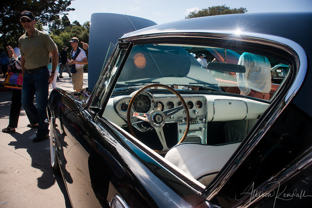 Detail of a vintage car seen at the Carmel-by-the-Sea Concours on the Avenue event during Monterey Car Week