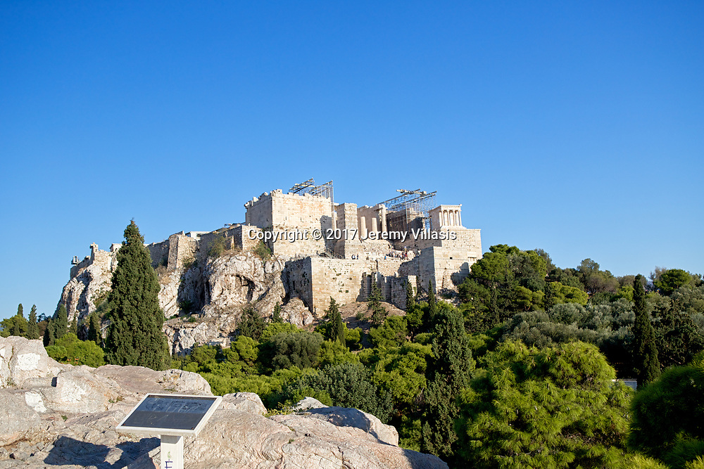 View of the Parthenon from Areopagus Hill, prominent rock outcrop in the northwest of the Athenian Acropolis.