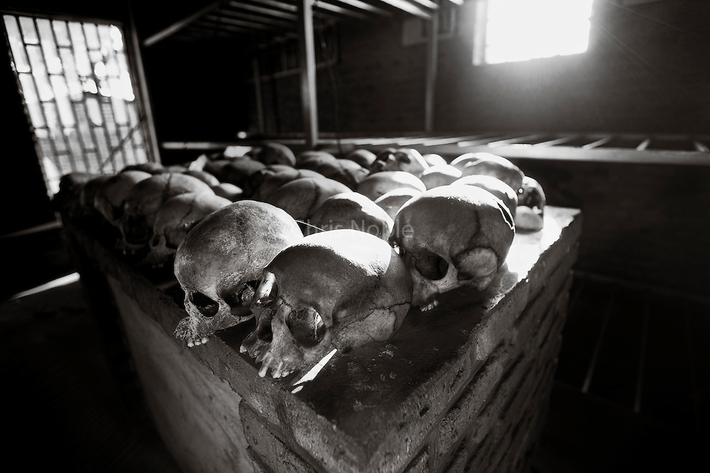 Skulls of victims murdered during the 1994 Rwandan Genocide on the altar of the Ntarama Church where they were killed.