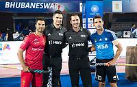 BHUBANESWAR -  Hockey World League finals ,  . Argentina v Spain . Miguel Delas (Esp) ,  DE YOUNG Ben , GOENTGEN Ben, Matias Paredes (Arg)  . COPYRIGHT KOEN SUYK
