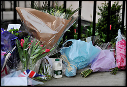 A pint of milk left outside Baroness Thatcher's house after the death of Baroness Thatcher, outside her house in Chester Square, London, UK,Monday 8 April, 2013. Photo By Andrew Parsons / i-lmages.