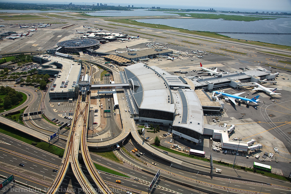 Aerial photograph of American Airlines Terminal at John F Kennedy International Airport.