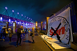 LIVERPOOL, ENGLAND - Monday, December 19, 2016: Supporters in front of a Total Eclipse of the Sun banner at Goodison Park before the FA Premier League match between Everton and Liverpool, the 227th Merseyside Derby, at Goodison Park. (Pic by Gavin Trafford/Propaganda)
