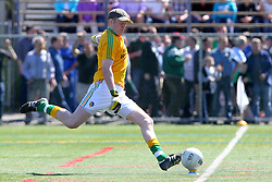 May 5, 2013; Bronx, NY; USA; Leitrim goalie Cathal McCrann (1) kicks the ball during the first half at Gaelic Park.