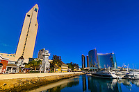 The Embarcadero Marina with Manchester Grand Hyatt San Diego behind (on left) and San Diego Marriott Marquis (on right), San Diego, California USA.